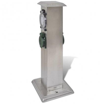 Zahradní elektrická zásuvka - sloupek s časovačem | nerezová ocel