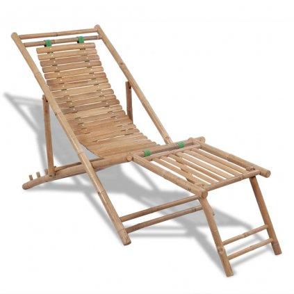 Zahradní lehátko s podnožkou | bambus