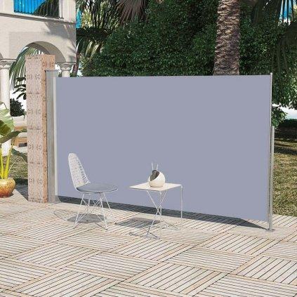 Boční markýza / zástěna na terasu zatahovatelná - 160x300 cm | šedá