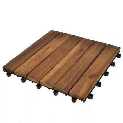 10 ks akáciové terasové dlaždice - vertikální vzor | 30x30 cm