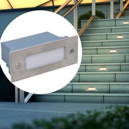2 LED svítidla zápustná do schodů | 44x111x56 mm