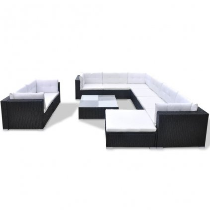 Zahradní sedací souprava Verdon - 32 kusů   černý polyratan
