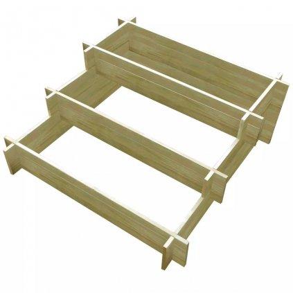 3stupňový truhlík - impregnované FSC dřevo | 90x90x35 cm