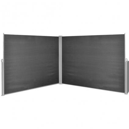 Zatahovací boční markýza / zástěna - 180x600 cm | černá