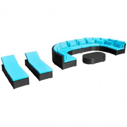 Zahradní sedací souprava s lehátky - polyratanová | modrá