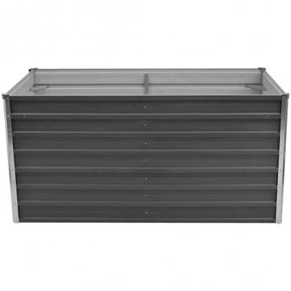 Vyvýšený zahradní truhlík - galvanizovaná ocel - šedá | 160x80x77 cm