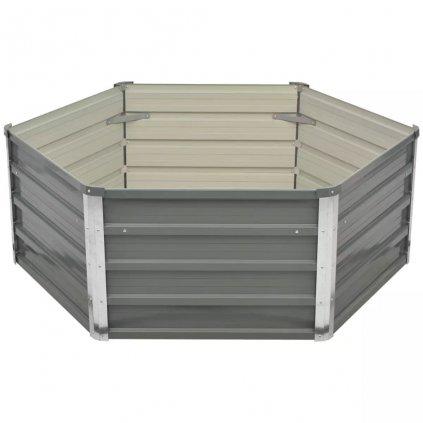 Vyvýšený zahradní záhon - pozinkovaná ocel - šedá | 129x129x46 cm