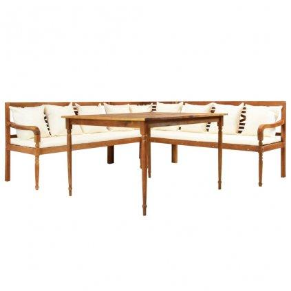 Zahradní sedací souprava se stolem a poduškami | akáciové dřevo
