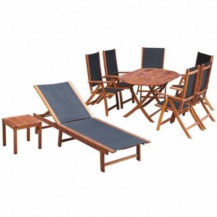 9dílný zahradní jídelní set - akáciové dřevo s textilem