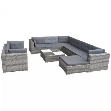 Zahradní sedací souprava Verdon - 32 kusů | šedý polyratan