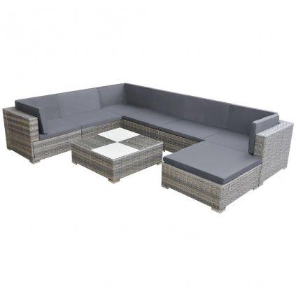 Zahradní sedací souprava Tipton - 24 ks | šedý polyratan