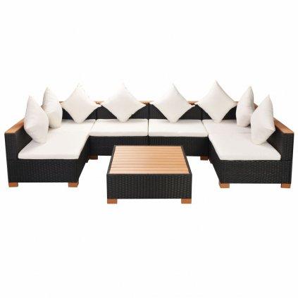 Zahradní sedací souprava 21 kusů - polyratan + WPC deska | černá