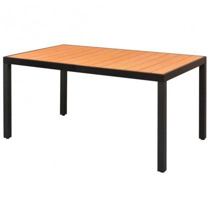 Zahradní jídelní stůl WPC deska - hnědý hliník | 150x90x74 cm