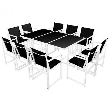 11-dílná sada zahradního jídelního nábytku - hliník | 165x100x72 cm