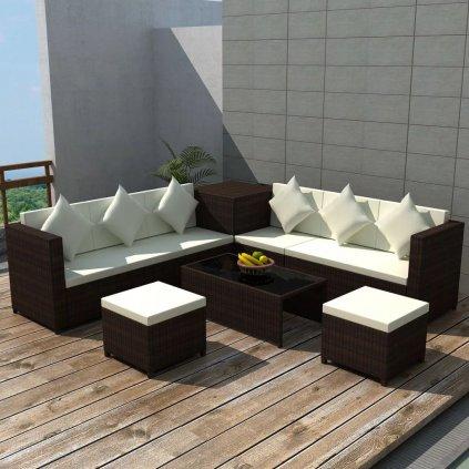 26dílná zahradní sedací souprava - polyratan | hnědá
