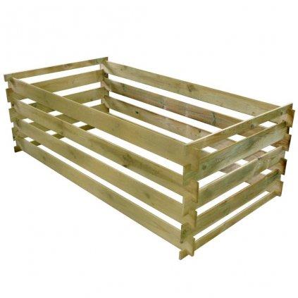 Kompostér z latěk - FSC impregnovaná borovice | 160x80x58 cm
