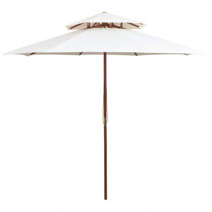 Dvoupatrový slunečník s dřevěnou tyčí - 270 cm | krémově bílá