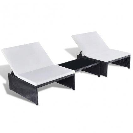 5-dílná 2místná sedací souprava - polyratan | černá