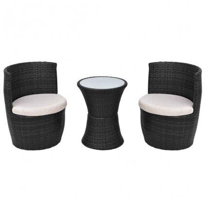 Zahradní sedací souprava Nutrias - polyratan | černá