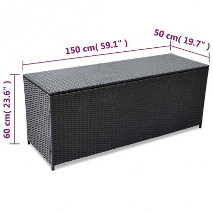 Venkovní úložný box z černého polyratanu - 150x50x60 cm