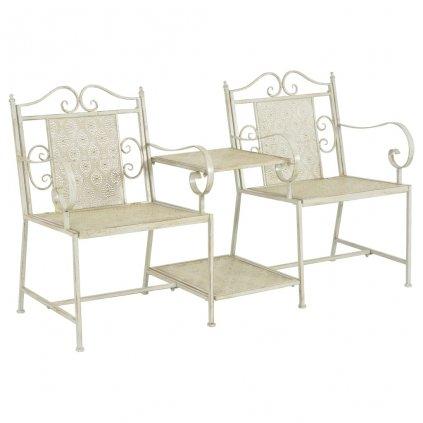 2-místná zahradní lavice Mate - ocelová - bílá | 161 cm