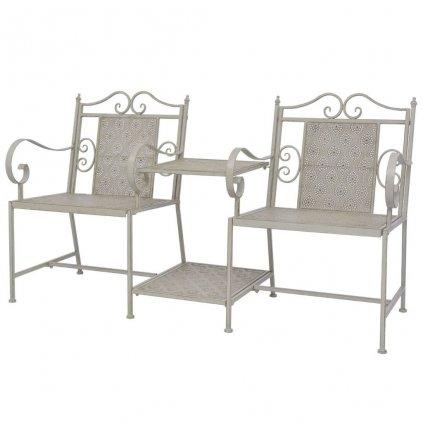 2-místná zahradní lavice - ocelová - šedá   161 cm