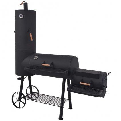 Těžký gril/udírna na dřevěné uhlí s poličkou XL | černý
