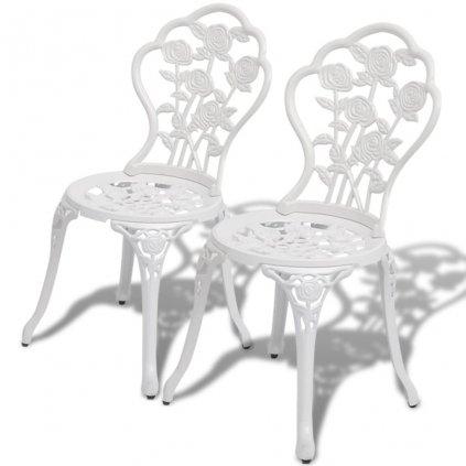 Bistro židle - 2 ks - litý hliník | bílé