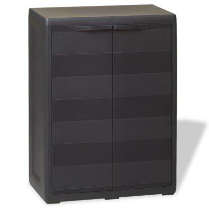 Zahradní skladovací skříň s 1 policí | černá
