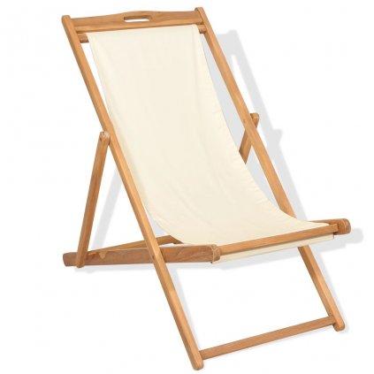 Kempingová židle - teak - 56x105x96 cm | krémová