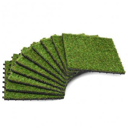 Dlaždice s umělou trávou - 10 ks - 30x30 cm | zelené