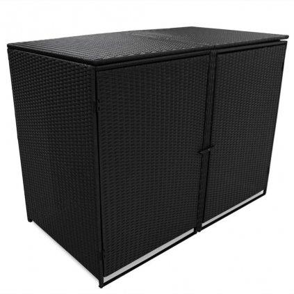 Dvojitý přístřešek na popelnice - polyratan - 148x80x111 cm | černý