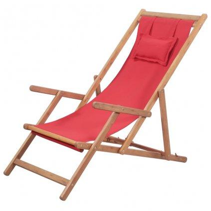 Skládací plážové křeslo - látka a dřevěný rám   červené