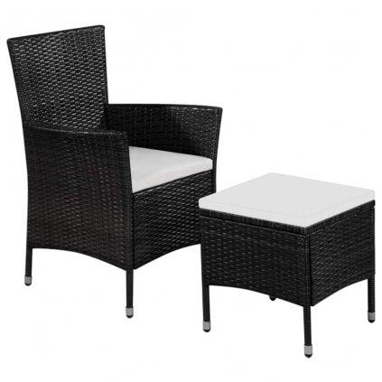 Zahradní židle a stolička s poduškami - polyratan   černé