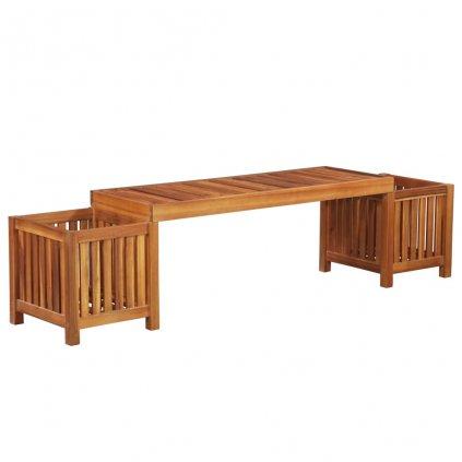 Zahradní lavice s truhlíky z masivní akácie | 180x40x44 cm