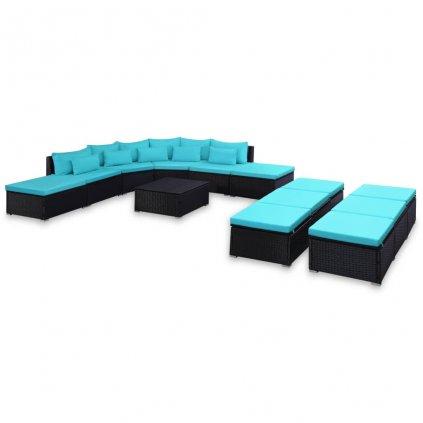 9-dílná zahradní sedací souprava s poduškami - polyratan | modrá