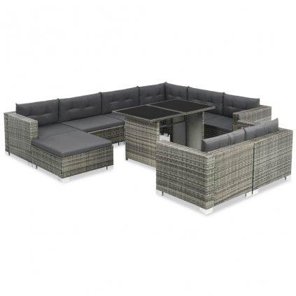 28dílná zahradní sedací souprava Gotebo - šedá | polyratan