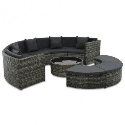 Zahradní sedací souprava - 25 kusů | z šedého polyratanu