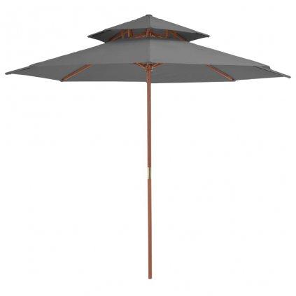 Dvoupatrový slunečník s dřevěnou tyčí - 270 cm   antracitový