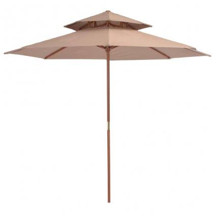 Dvoupatrový slunečník s dřevěnou tyčí - 270 cm | hnědá
