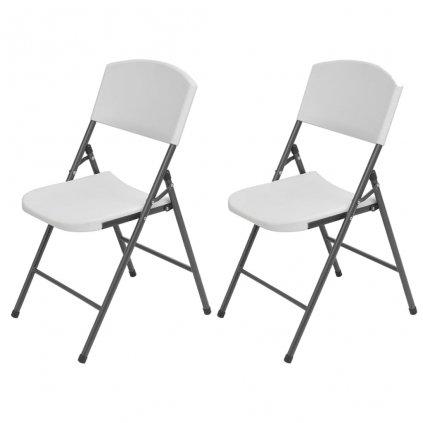 Skládací zahradní židle - 2 ks - HDPE a ocel   bílé
