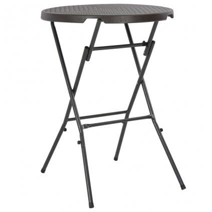 Skládací barový stůl - HDPE - hnědý ratanový vzhled | 80x110 cm