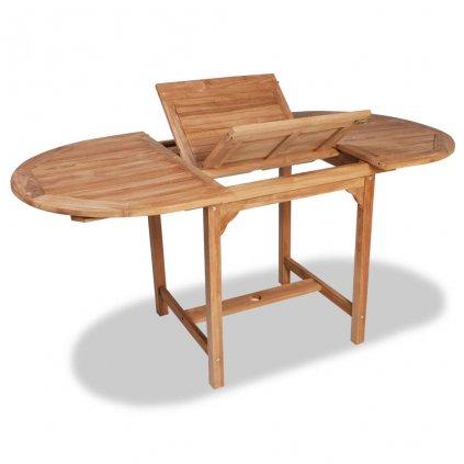 Rozkládací zahradní jídelní stůl - teak - oválný | (110–160)x80x75 cm