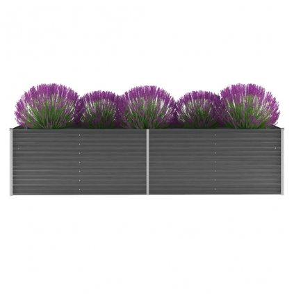 Zahradní květináč z pozinkované oceli - šedý   320x80x77 cm