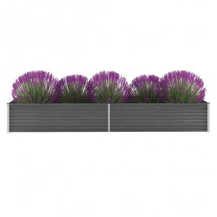 Zahradní květináč z pozinkované oceli - šedý | 320x80x45 cm