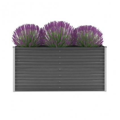 Zahradní květináč z pozinkované oceli - šedý | 160x40x77 cm