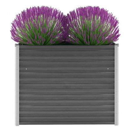 Zahradní květináč z pozinkované oceli - šedý | 100x40x77 cm