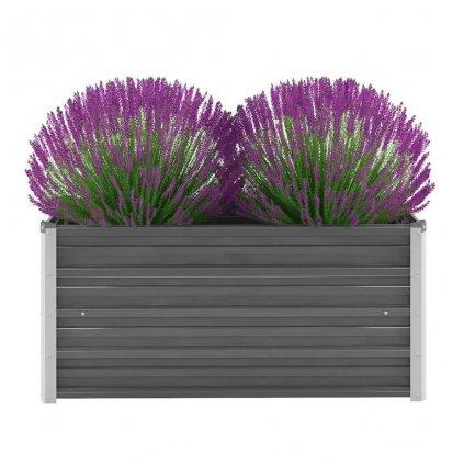 Zahradní květináč z pozinkované oceli - šedý   100x40x45 cm