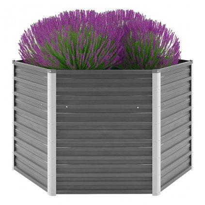 Zahradní květináč z pozinkované oceli - šedý   129x129x77 cm