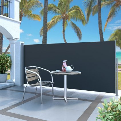 Zatahovací boční markýza / zástěna - 140x300 cm   černá